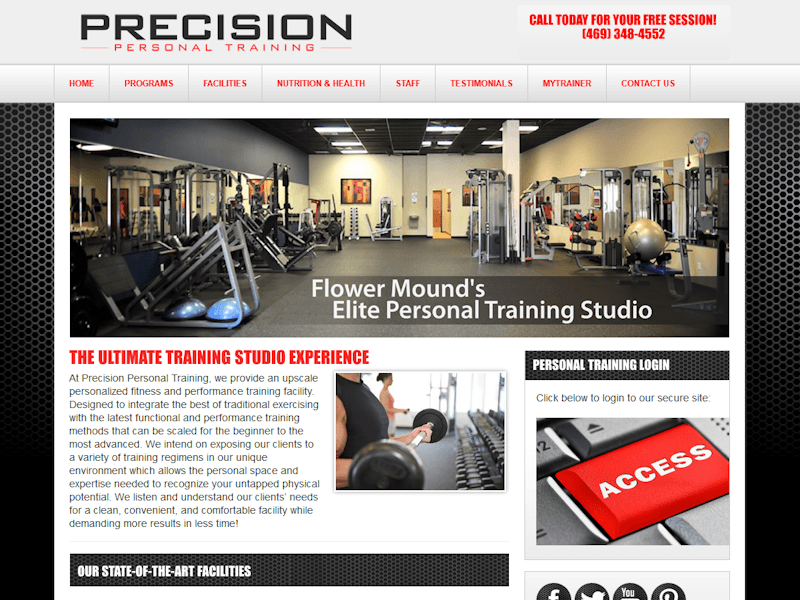Dallas Webdesign Precision Personal Trainer Homepage