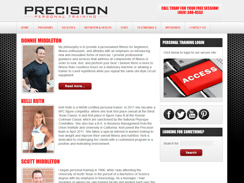 Dallas Webdesign Precision Personal Trainer Staff